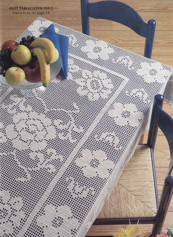 Tablecloth Crochet Pattern Booklet - Heirloom Tablecloths, Pillow Cover