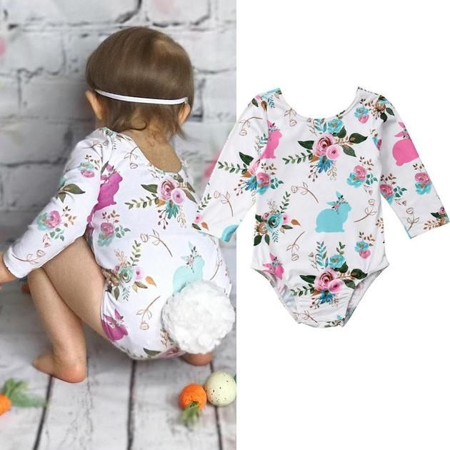 Lovely Baby Girl Easter Bunny Top Romper Bodysuit Jumpsuit Holiday Party Outfits