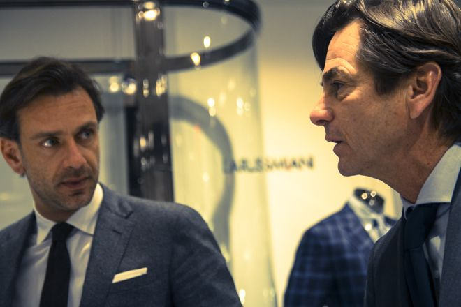Guglielmo Miani Larusmiani CEO and President  and Daniel Moore, Larusmiani Sales Director North America Apparel Division at Bergdorf Goodman's Made to Measure event