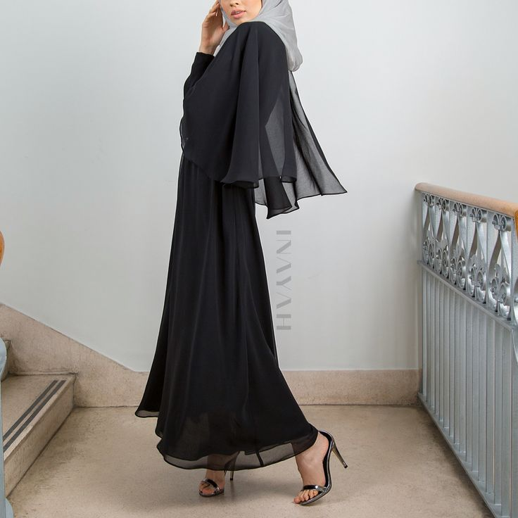 INAYAH | Encompass class and elegance in the beautiful black maxi dress. Also available in colour Cinnamon and can be bought online and in-store.  Black Cape Maxi #Dress Feather Grey Silk Chiffon #Hijab  www.inayah.co