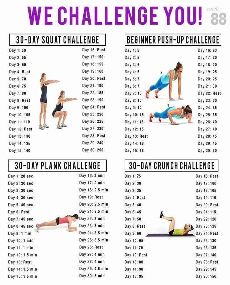 30 day challenge: squats, plank, push-ups, and crunches!