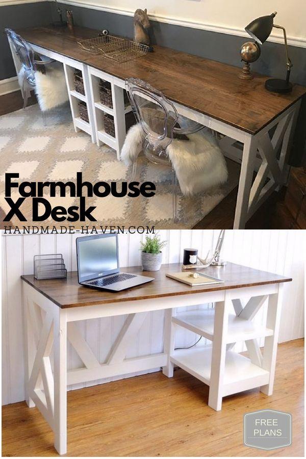 farmhouse x office desk in 2019 wood furniture plans diy rh pinterest com