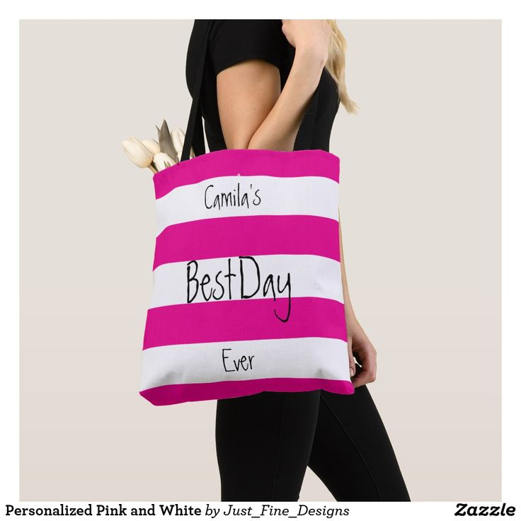"Personalized Pink and White This colorful bag will put a positive spin on your day.  Every Day ! ""Best Day Ever"" fully customisable tote bag.  Perfect for Mothers day ."