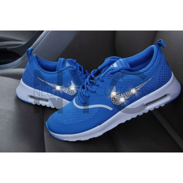 Blinged Womens Nike Air Max Thea Running Shoes Blue Spark Blinged Out... ($150) ❤ liked on Polyvore featuring shoes, sneakers & athletic shoes, teal, tie sneakers, women's shoes, sparkly shoes, blue sparkly shoes, blue rhinestone shoes, tie shoes and teal blue shoes