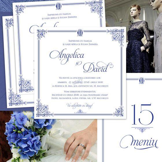 Invitații de nuntă regale, în nuanțe de bleumarin, cu ornamente elegante și monogramă - yorkdeco.ro