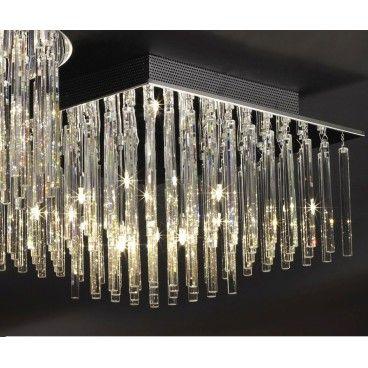 Kwadratowy plafon kryształowy Spillo 620 podłużne kryształy - LampyTanie - 4735,98 PLN