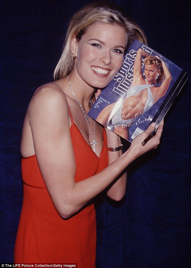 Model Vendela Kirsebom is well-known for her 1993 Sports Illustrated cover, which she is pictured holding at a party to celebrate its publication