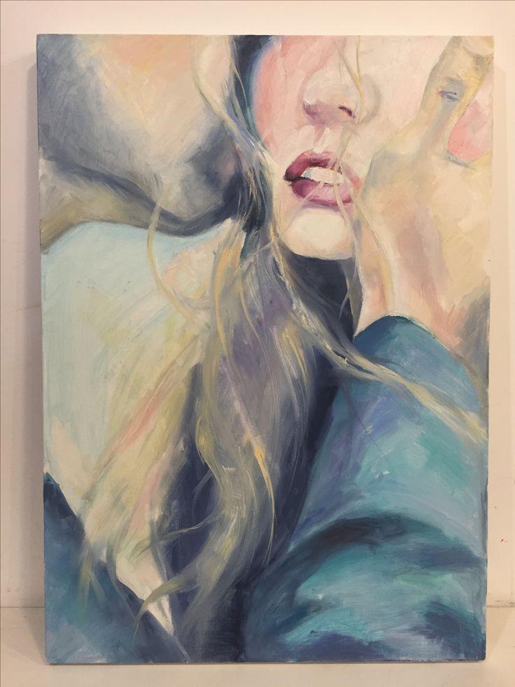 Kiss #1, oil & canvas, art, painting