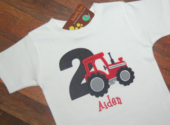 Tractor Birthday Shirt, Tactor with Number, Boys Birthday Shirt, Monogrammed, Red Tractor on Etsy, $24.00