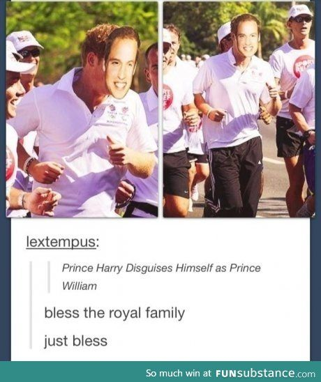 Prince Harry disguises himself as Prince William.