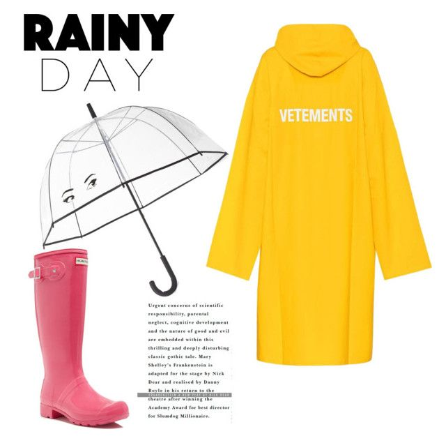 """rainy day"" by geopaganeli on Polyvore featuring Vetements, Hunter and Kate Spade"