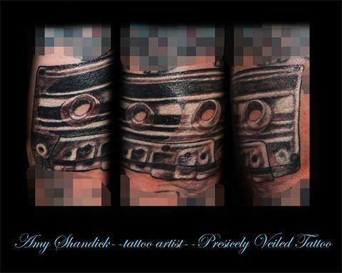 cassette tape tattoo tattoos black and grey  www.facebook.com/preciselyveiledtattoos www.preciselyveiledtattoo.com #tattoo #tattoos #blackandgrey #cassette #tape