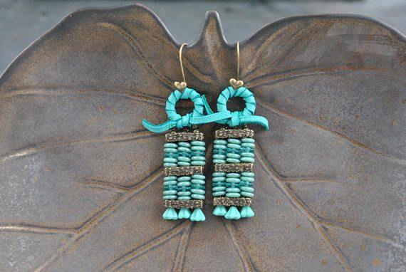 Turquoise Czech Glass Abacus Artisan Earrings #earrings #artisan #handmade #oneofakind #turquoise #layered #abacus #abacusstyle  #czech #czechglass #bronze  #rustic #czechflowers #unique #fun