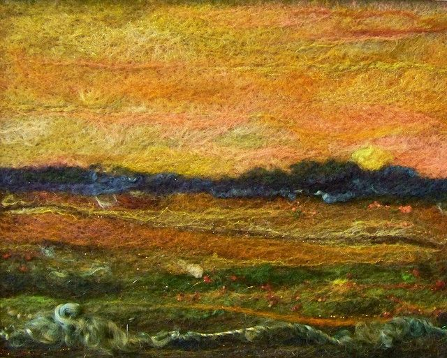 'Sunset', needle felting.