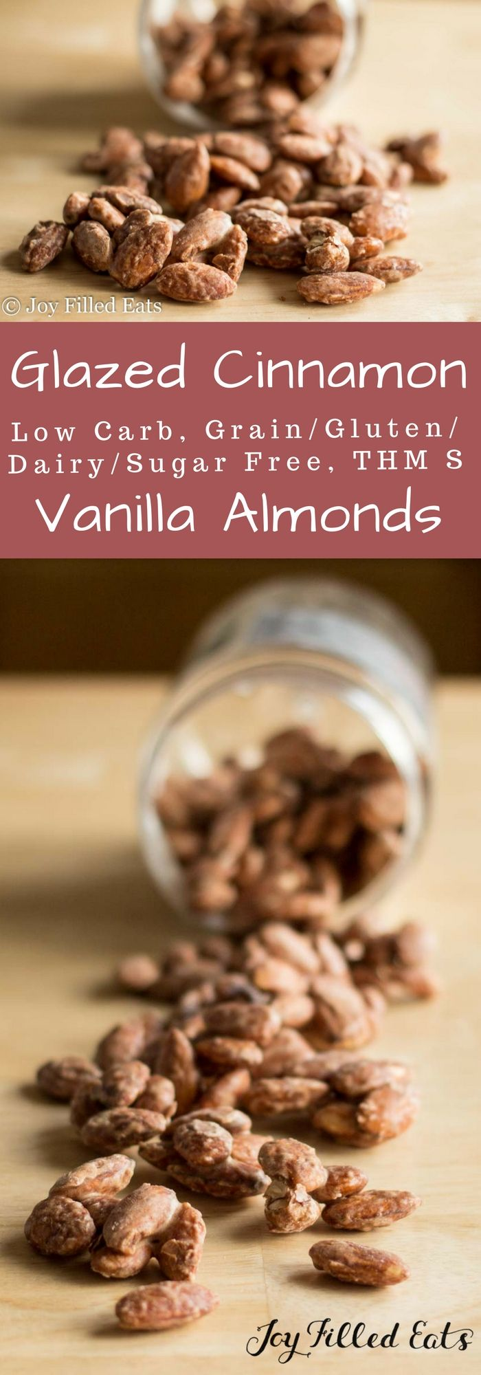 Glazed Cinnamon Vanilla Almonds - Low Carb, Grain/Gluten/Sugar/Dairy/Egg Free, THM S - These Glazed Cinnamon Vanilla Almonds are the perfect sweet treat for when you are on the go. You can keep a little container in your purse to help avoid tempting sweets on the road. via @joyfilledeats