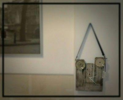 Orologio da parete piattini,riciclo,pallet,tracolla,industrial,,made in Italy!