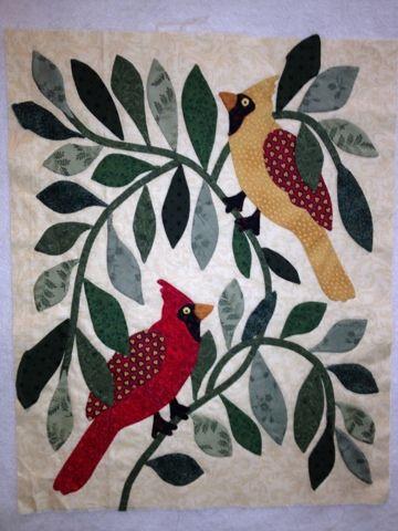 Happy Appliquer: A cardinal for the bride