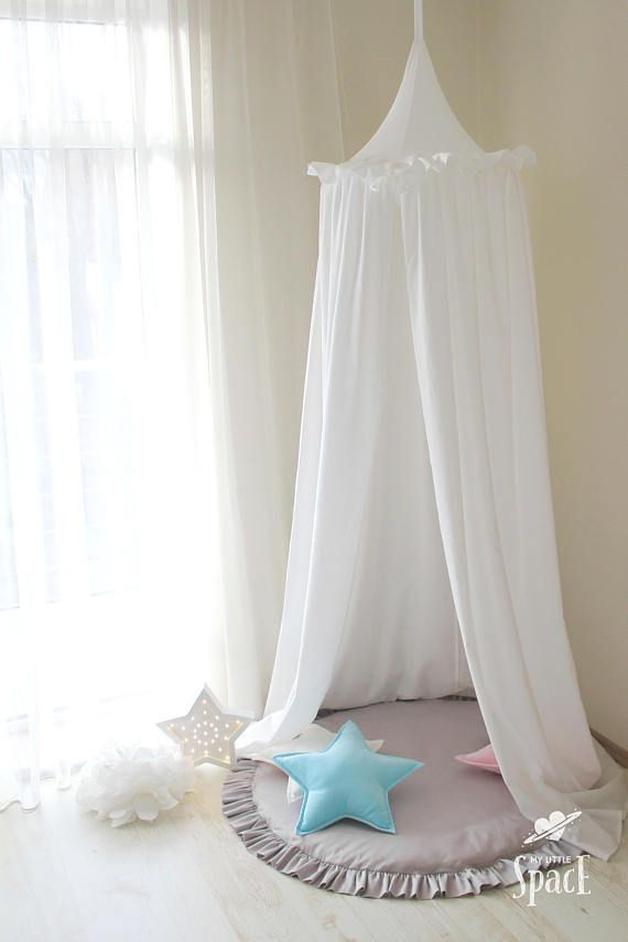Bed Canopy White Canopy With Frills Kids Room Canopy Baldachin Crib Canopy Play Canopy Hanging Play Tent Canopy For Nursery Crib Canopy Kids Bed Canopy White Canopy
