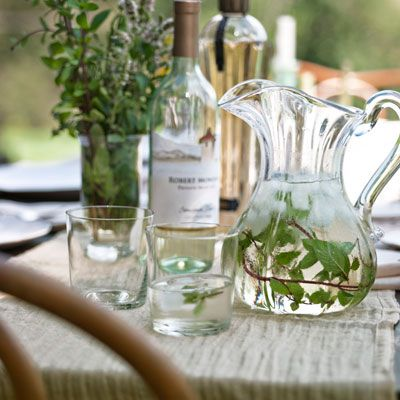 Elderflower Wine Cocktail   1bottle(s) (750-milliliter) Fumé Blanc (such as Robert Mondavi Private Selection), chilled4ounce(s) elderflower liqueur4ounce(s) vodka Sprigs of fresh mint, plus more for garnish Ice Club soda