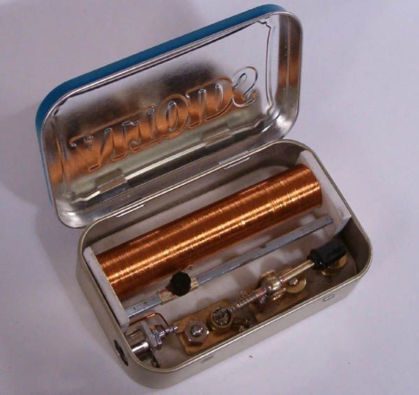 I love this design. Its a Crystal Radio in an Altoids tin. A crystal radio is a radio that can pickup stations and does not require a power source.