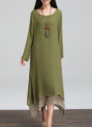 Vestidos Lino Llanura Midi Manga larga (1020139) @ floryday.com