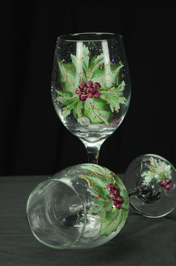 Hand Painted Large Wine Glass / Holly Spray On Clear by ArteeVita