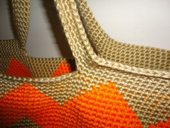 SALE Neon Orange Chevron Stripe Crochet Tote Bag  Neon Orange