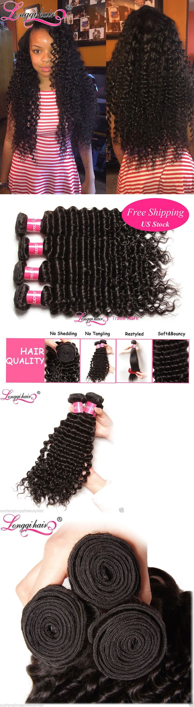 Hair Extensions: 20+22+24 7A Peruvian Deep Wave 3 Bundles Virgin Curly Human Hair Extensions 300G BUY IT NOW ONLY: $119.35