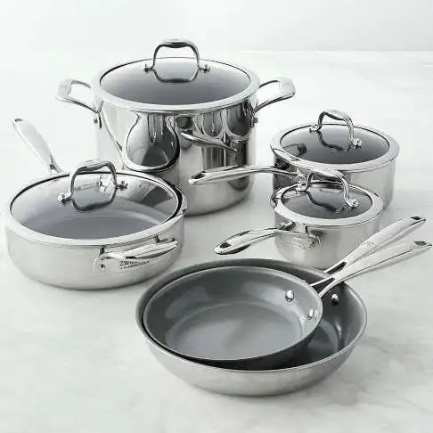 Zwilling Titanium Ceramic Nonstick 10-Piece Cookware Set | Williams Sonoma - Cookware Sets - Pot & Pan Collections
