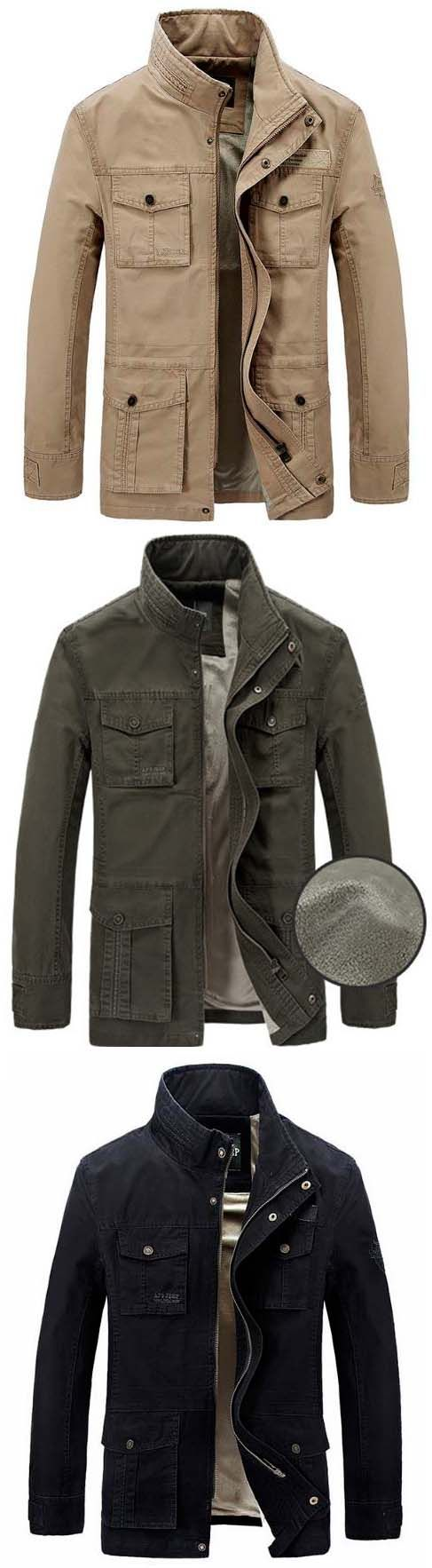 jacket:Plus Size Outdoor Cargo Loose Multi Pockets Thicken Jackets for Men
