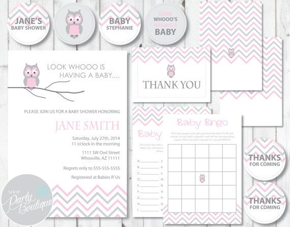 Pink Owl Baby Shower Party Kit Invitations by ShopPartyBoutique