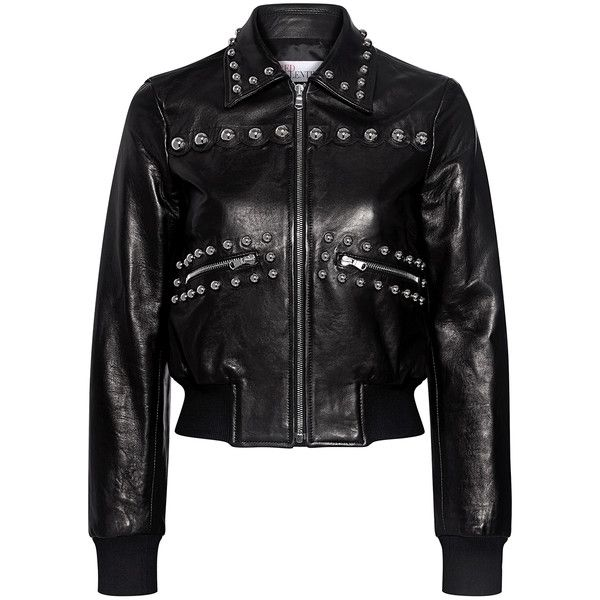 Red Valentino - Studded Leather Cropped Bomber Jacket ($1,750) ❤ liked on Polyvore featuring outerwear, jackets, studded leather jacket, bomber style jacket, flight jacket, real leather jackets and studded jackets