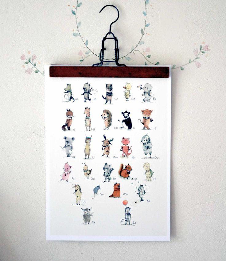 ABC Animals Alphabet Poster, English, Educational, Children, Learning, Nursery Baby. $35.00, via Etsy.