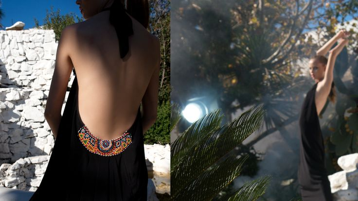 Long dress with open back and ethnic pattern www.maurizio.gr