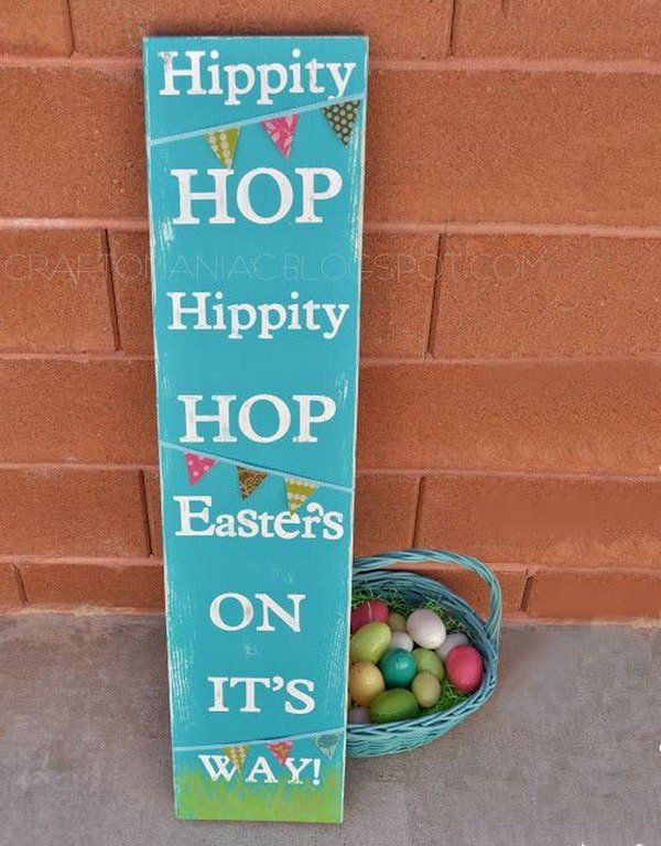 Easter Subway Art sign. Paint the long board with acrylic paint, tape the words onto the board and glue the cute pennant at the right place of the board. It's done with 3 simple processes. Try to DIY this cool subway design for your Easter decoration. http://hative.com/creative-easter-outdoor-decoration-ideas/