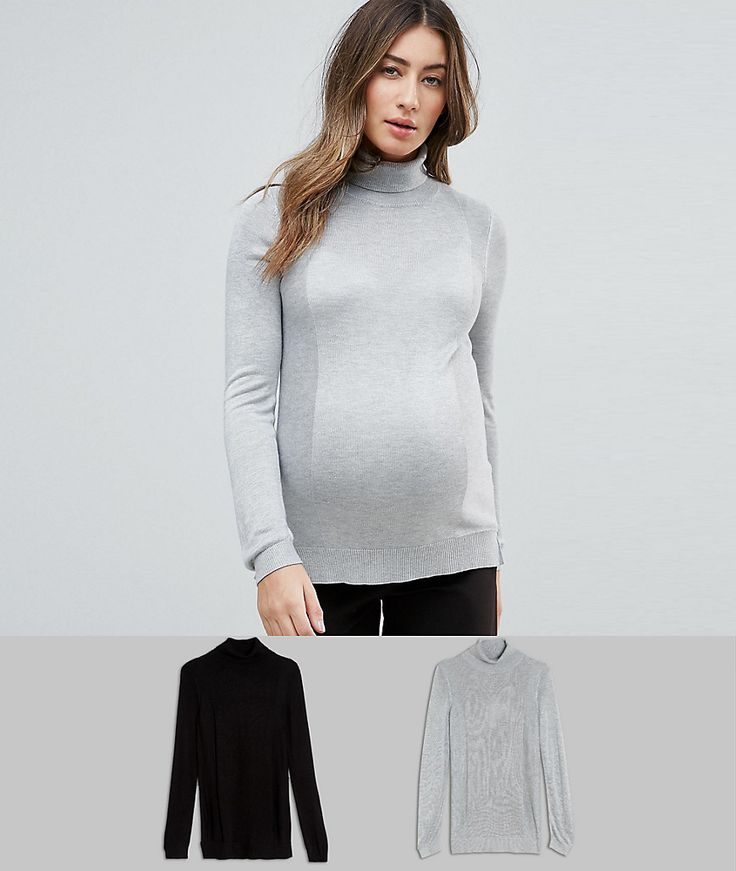 ASOS Maternity Sweater With Roll Neck And Rib Detail 2 Pack - Multi
