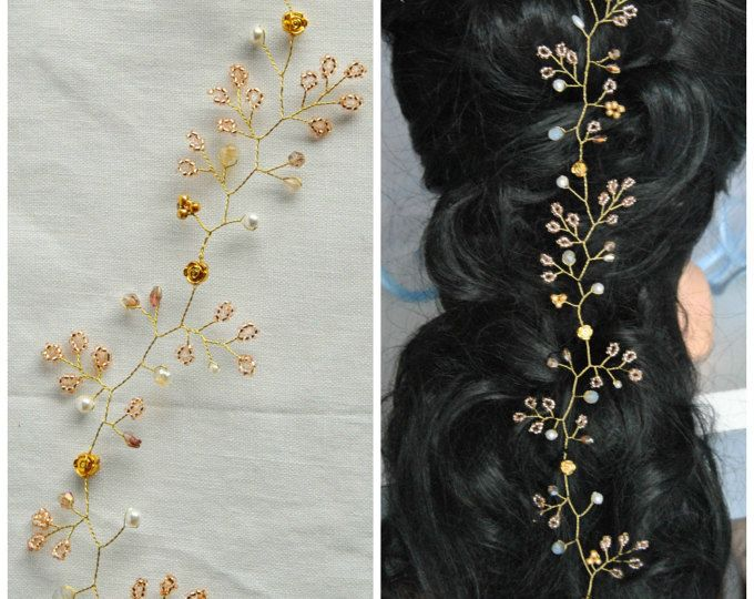 Pedazo del pelo de la boda de pelo nupcial oro rosa vid bebé respiración diadema largo casco oro rosa corona guirnalda Halo bohemio ornamento de grano diadema