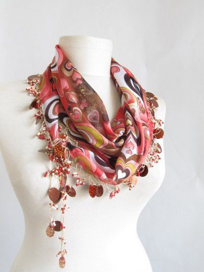 Hearts scarf hearts scarves Turkish Yemeni OYA Scarf by asuhan, $28.00