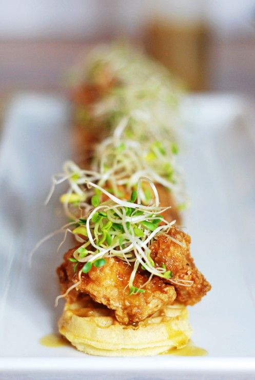 Mini Chicken and Waffles Hors D'Oeuvres -Everyone's favorite southern dish is recreated in these adorable miniature chicken and waffles, finished with a syrupy mustard sauce!