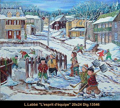 Original oil on canvas painting by Lise Labbé #labbe #art #artnaif #fineart #figurativeart #kidscharacters #winter #snowcleaning #canadianartist #quebecartist #originalpainting #oilpainting #balcondart #multiartltee