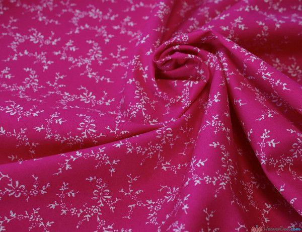 Rose & Hubble Cotton Poplin Fabric - Tiny Treasure / Cerise … WeaverDee.com