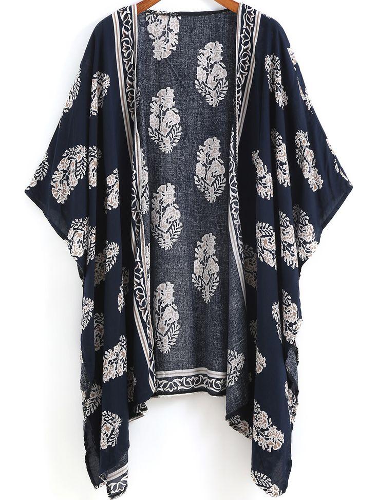 Kimono mit Vintage Muster-marineblau 11.68