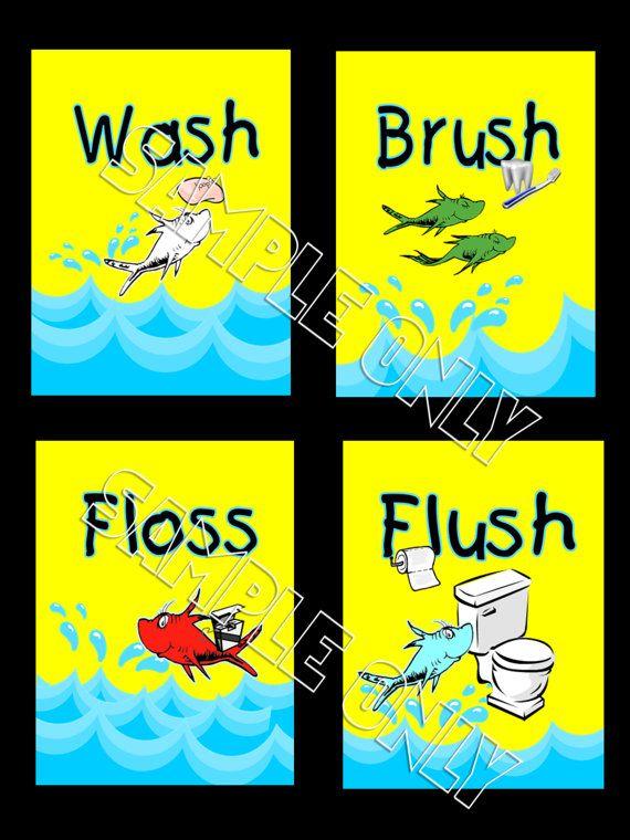 Kids Bathroom Wall Art Prints - Dr Seuss One Fish Two Fish Bathroom Wash Brush Floss Flush