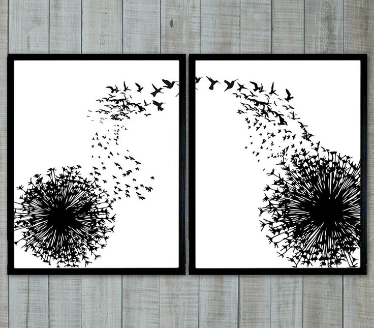 This image by PrintsEnPosters features a lovely play with silhouettes: the dandelion seeds transform into tiny birds. The no-fuss black frame is the ideal match for the minimalist but dreamy print.