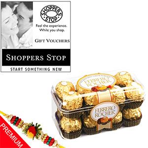 Ferrero Rocher Hamper with Shoppers Stop Voucher Rs 1501/- http://www.tajonline.com/rakhi-gifts/product/r4817/ferrero-rocher-hamper-with-shoppers-stop-voucher/?Aff=pint2014/