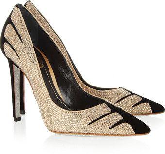 Rene Caovilla Swarovski Crystal embellished Velvet and Suede Pumps  #shoes www.finditforweddings.com