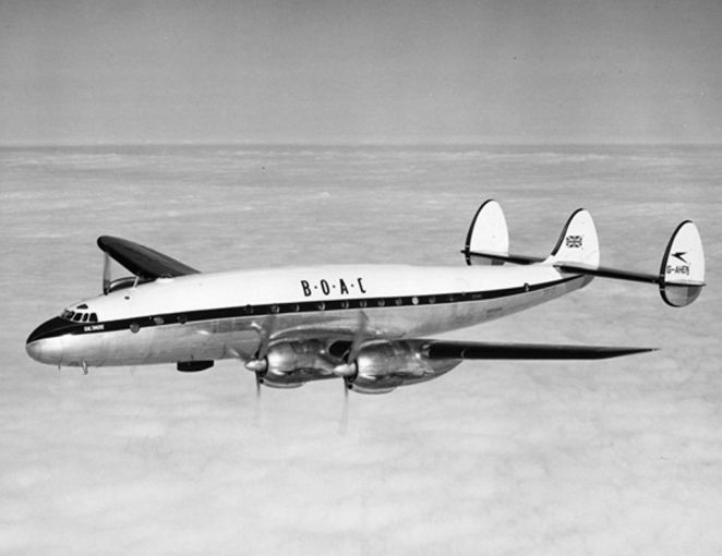 Another of BOAC's first L-49 order, G-AHEN 'Baltimore' (cn 1980) shows off the later 'white top' livery in a 1954 shot. San Diego Air & Space Museum #00068351