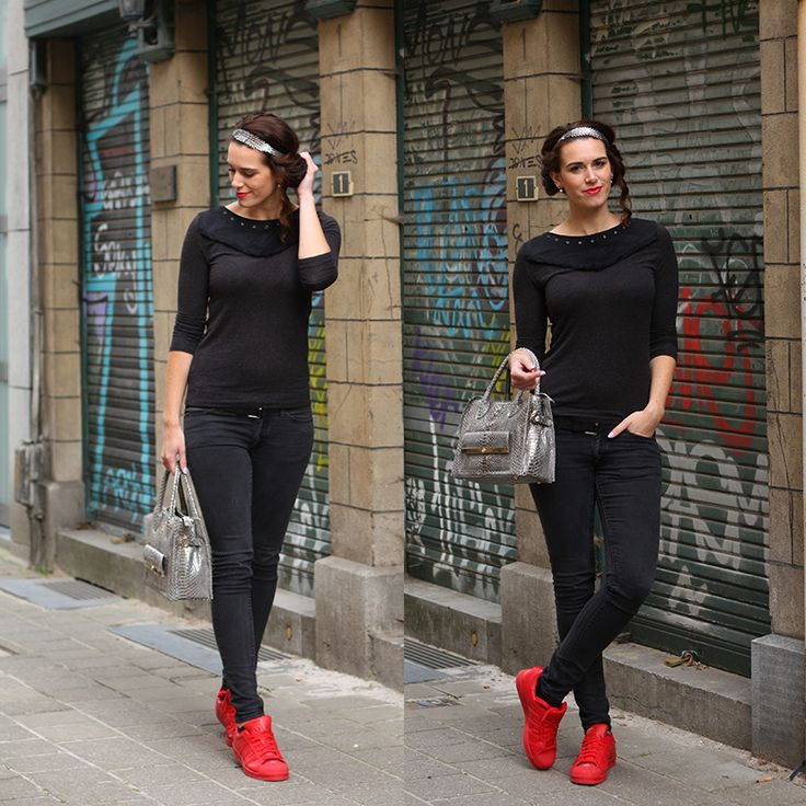 adidas superstar red outfit