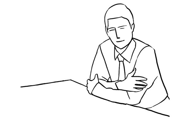 Lean forward on desk pose