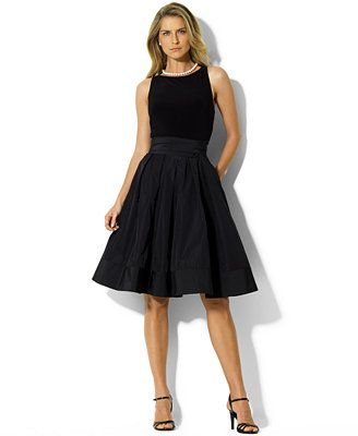 I really like this, it comes in navy, should be flattering, cool, it's classic and if it's at Macy's we can always use coupons (they are in the paper weekly)... what do you think? Lauren Ralph Lauren Pleated Cocktail Dress